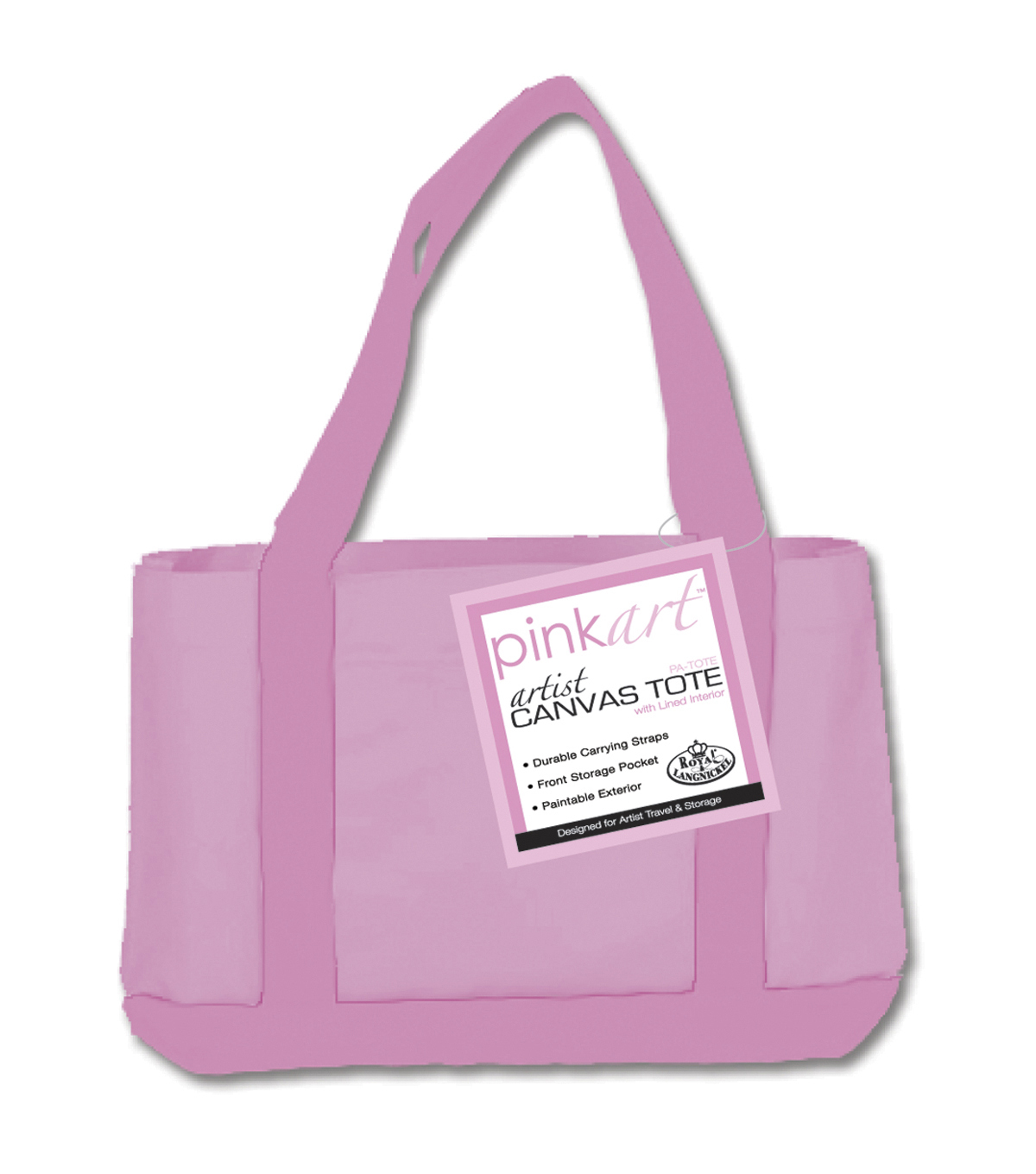 Royal Brush Pink Art Artist Canvas Tote-17\u0022X12\u0022