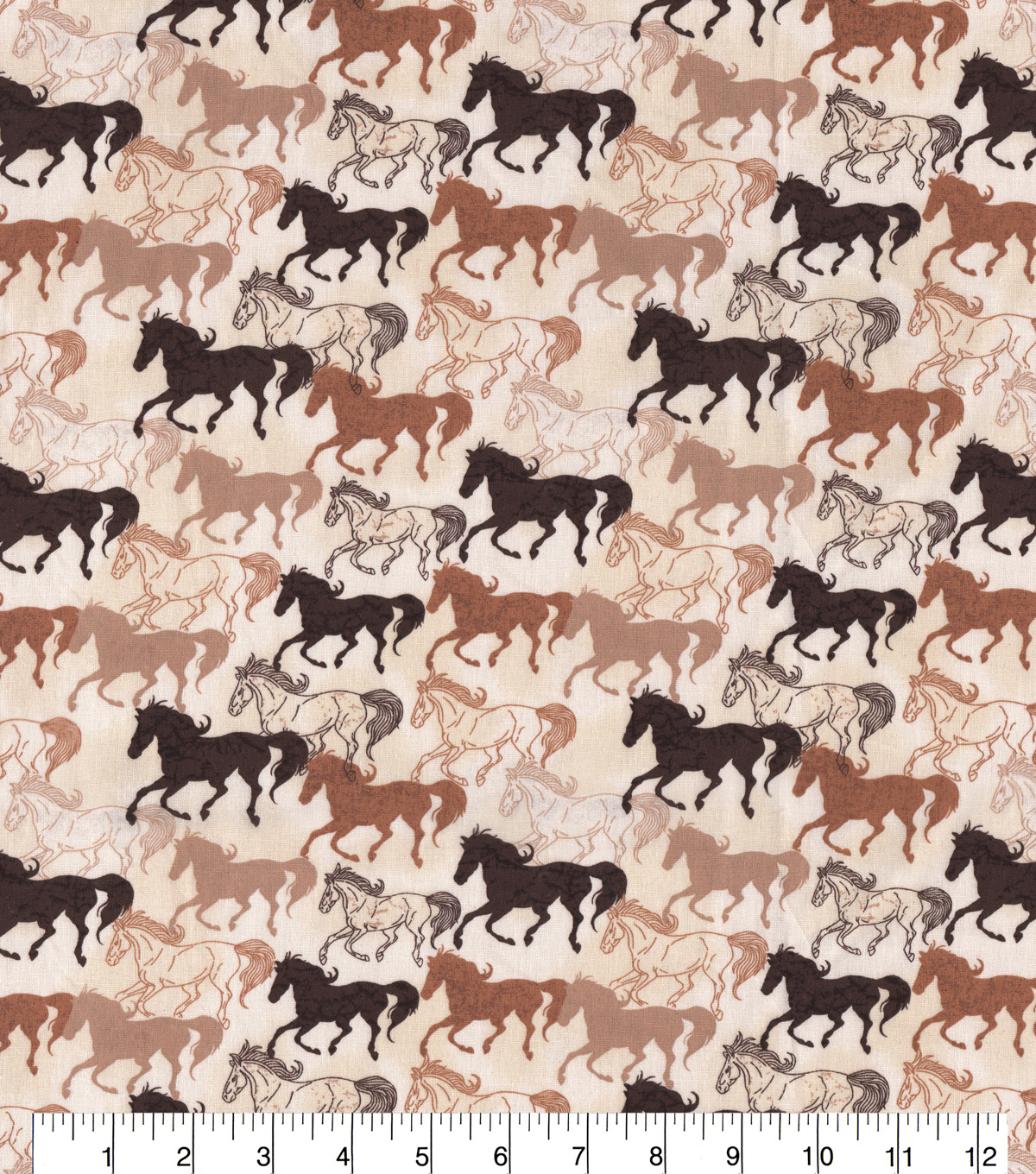 Novelty Cotton Fabric-Sketched Horses on Cream