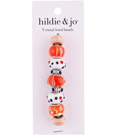 hildie & jo Metal Lined Glass Beads-Orange, White & Blush