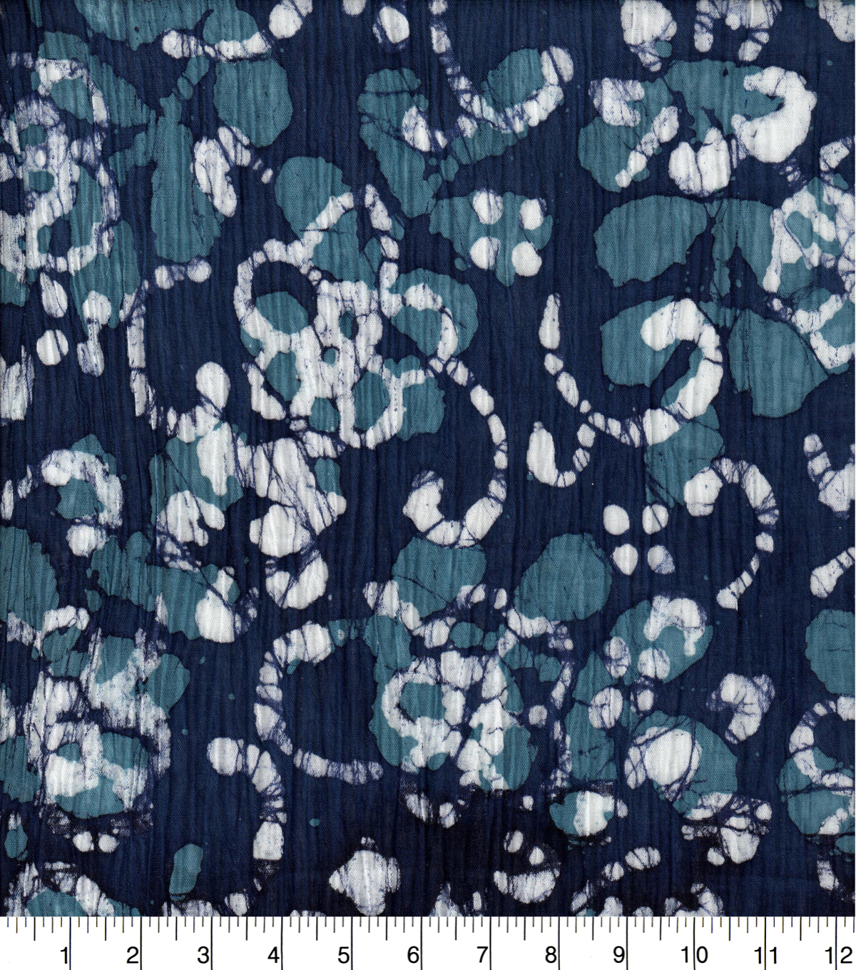 Crinkle Cotton 42\u0027\u0027-Batik Floral on Blue