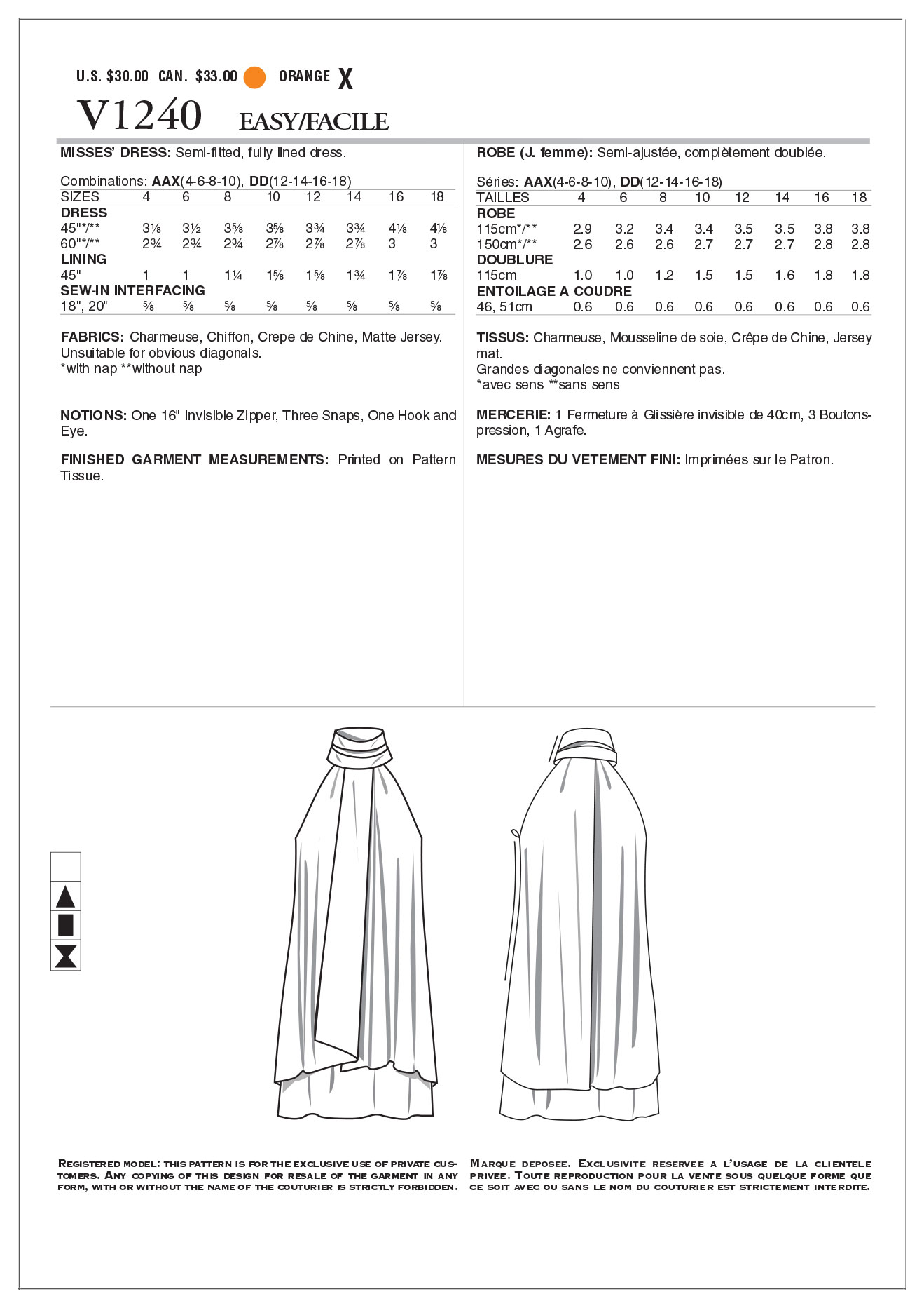 Mccall Pattern V1240 Aax (4-6-8-Vogue Pattern