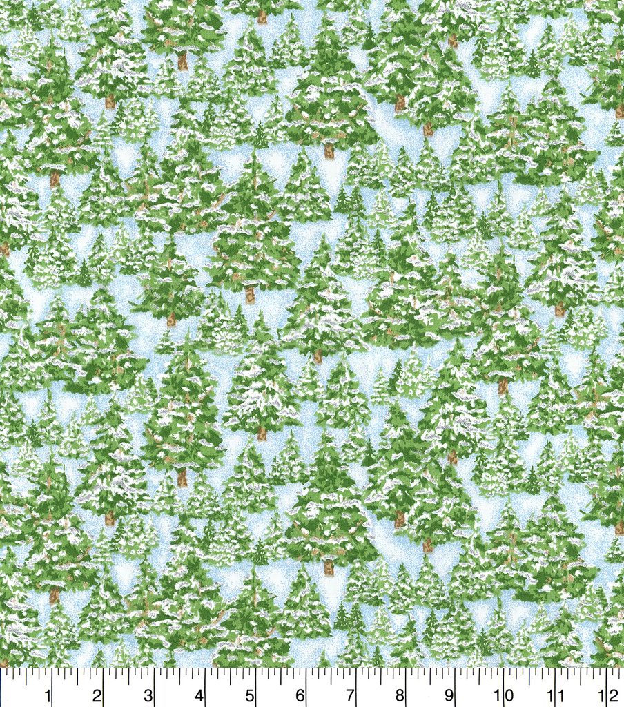 Christmas Cotton Fabric 44\u0022-Snowy Trees with Glitter