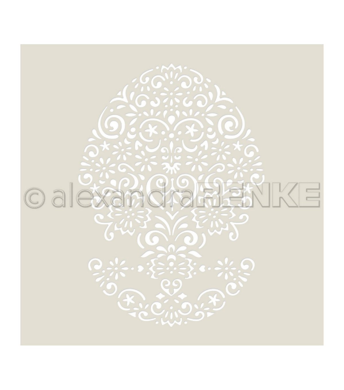 Alexandra Renke Stencil Rose Diamond Ornament @ 4 x 6 Inches