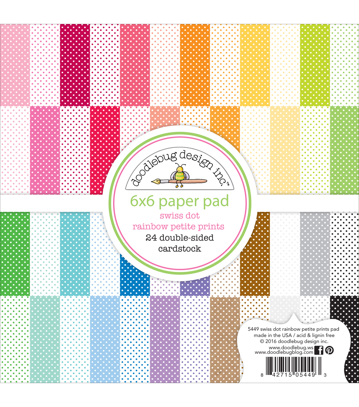 Doodlebug Petite Prints Double-Sided Paper Pad 6\u0022X6\u0022-Swiss Dot