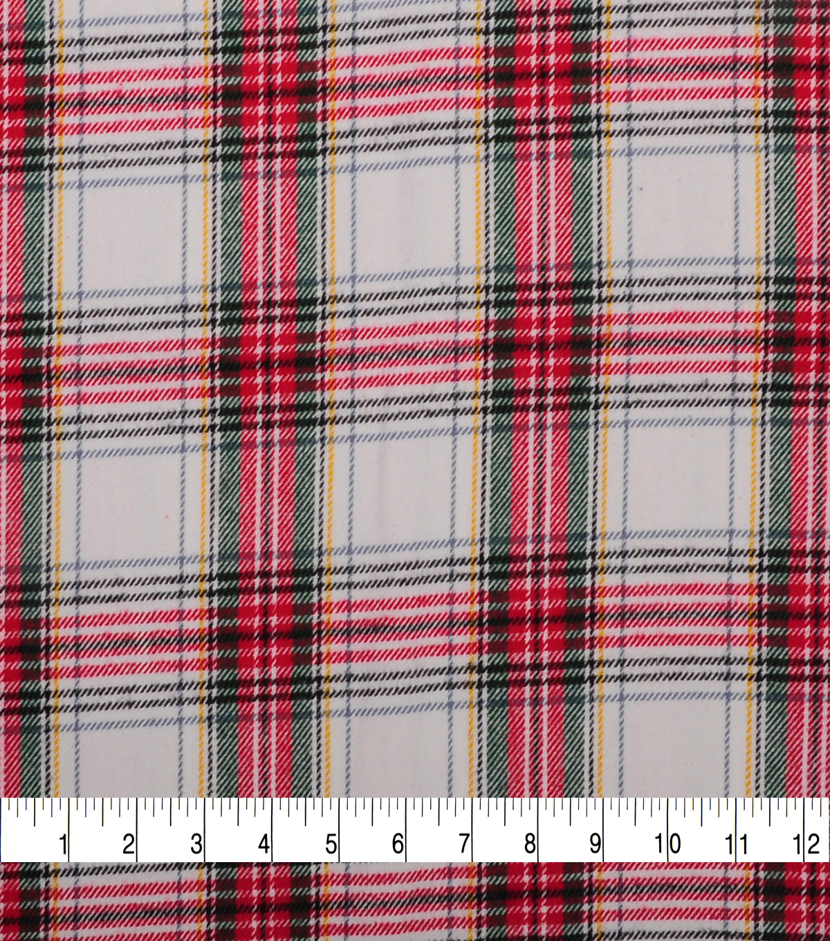 Plaiditudes Brushed Cotton Fabric-White & Red Tartan Plaid