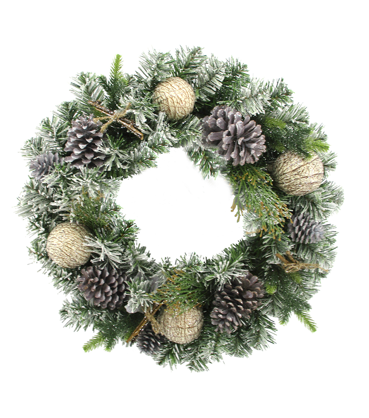 Handmade Holiday Christmas Frosted Pinecone & Birch Ornament Wreath