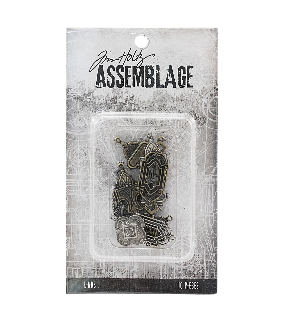 Tim Holtz Assemblage 10 Pack Art Deco Antique Silver & Brass Links