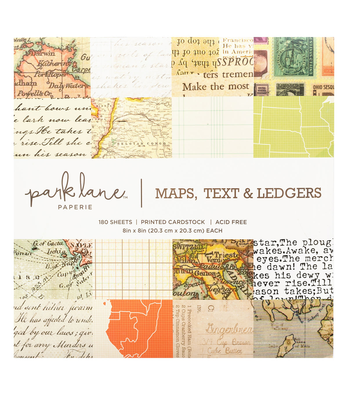 DCWV 8\u0022x8\u0022 180 sheet  printed stack: Maps, Text, and Ledgers