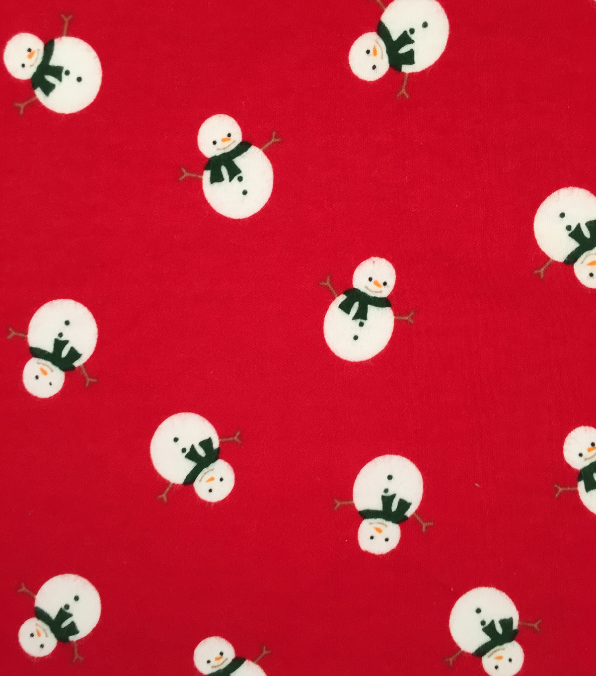Doodles Christmas Interlock Cotton Fabric -Red Snowman