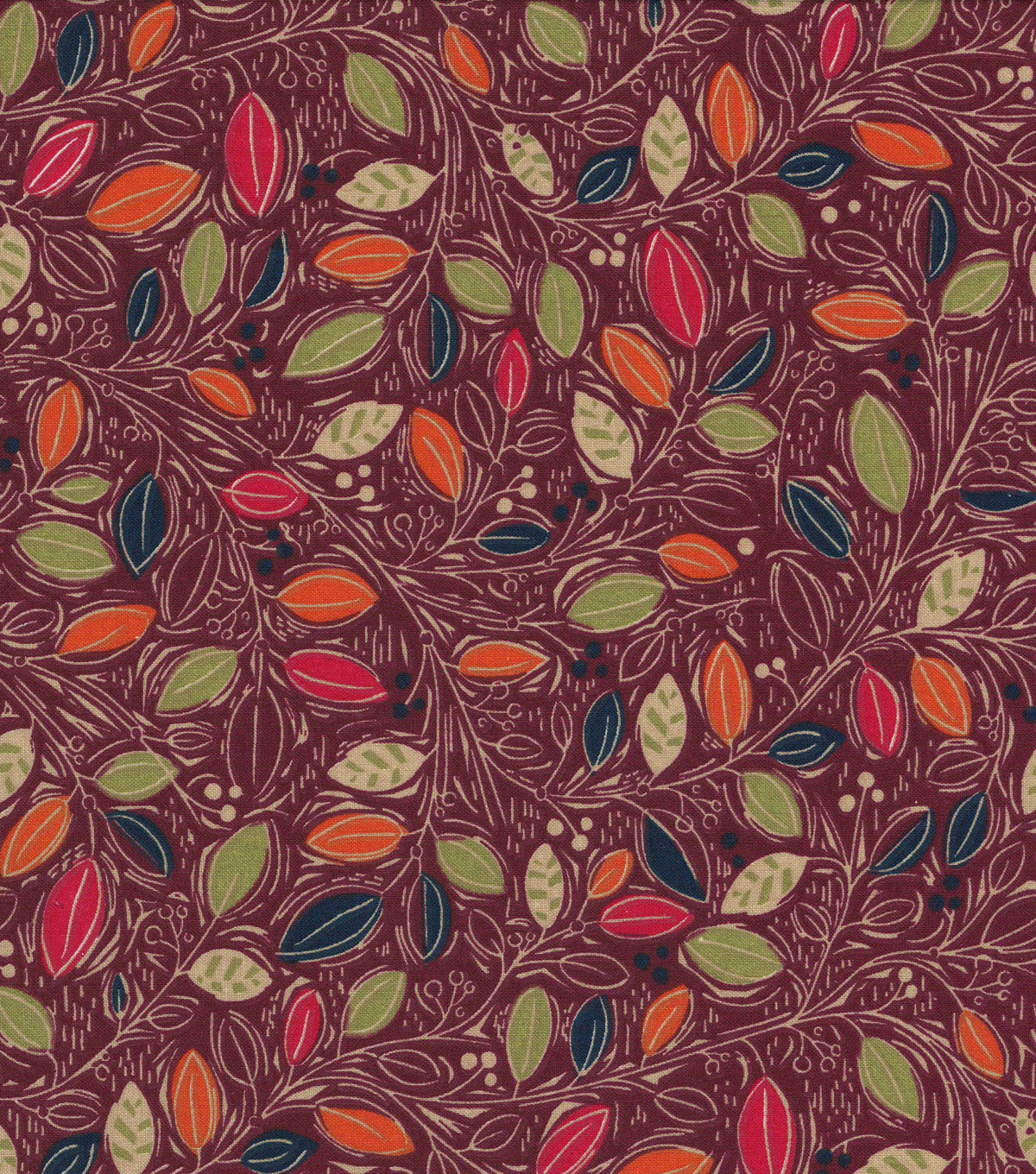 Quilter\u0027s Showcase Cotton Fabric -Mini Multi Leaves on Burgundy