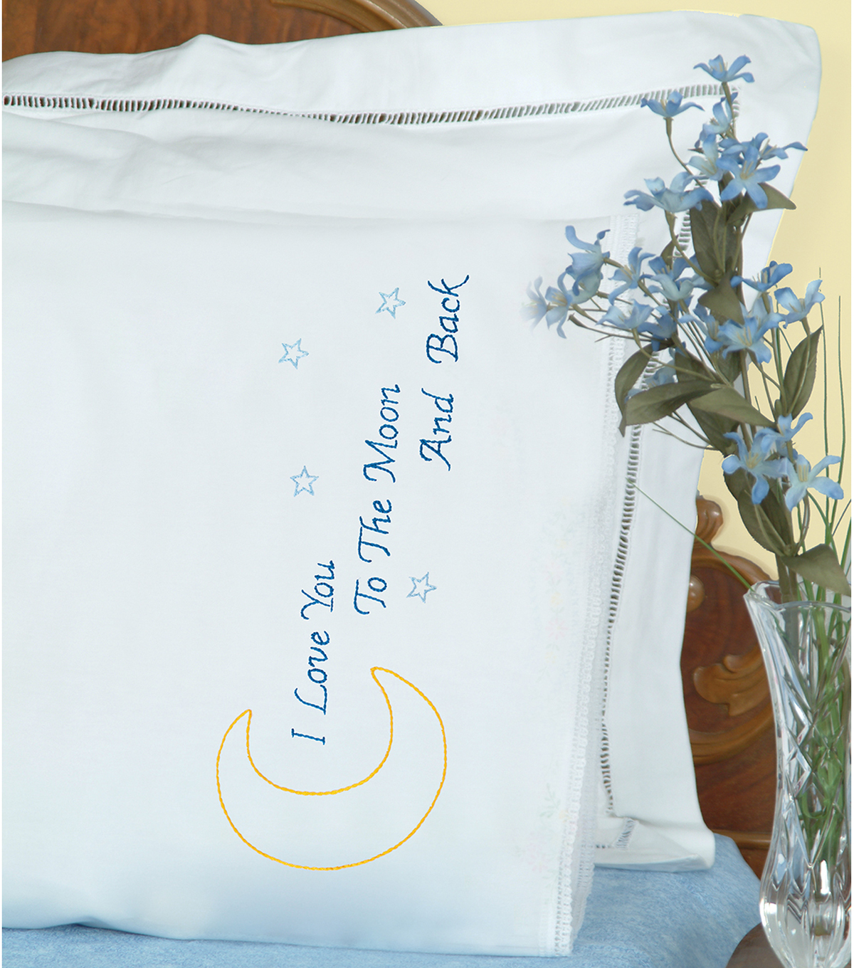 Jack Dempsey 2 pk Stamped Pillowcases with White Lace Edge-Love You Moon