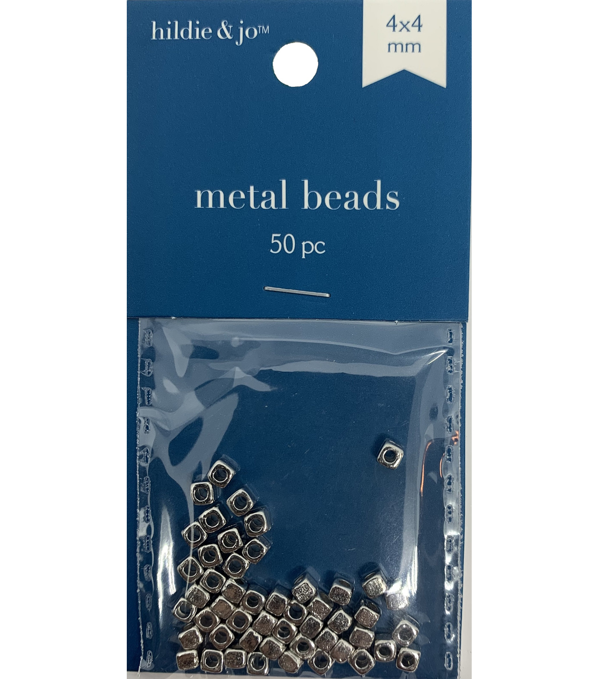 Blue Moon Beads Metal Bead 4x4mm, Square Spacer, Silver