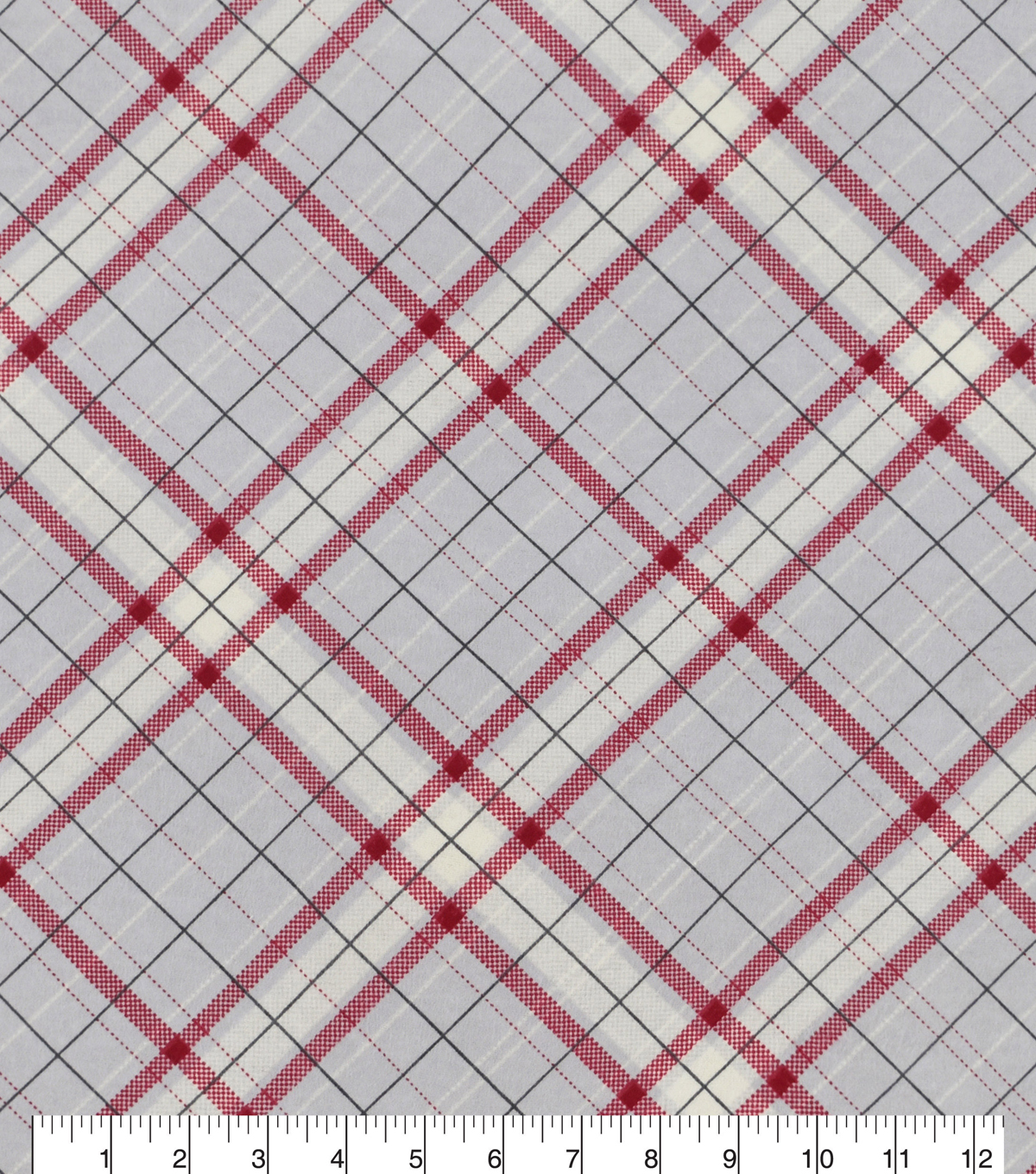 Snuggle Flannel Fabric 42\u0027\u0027-Gray & Red Riley Plaid