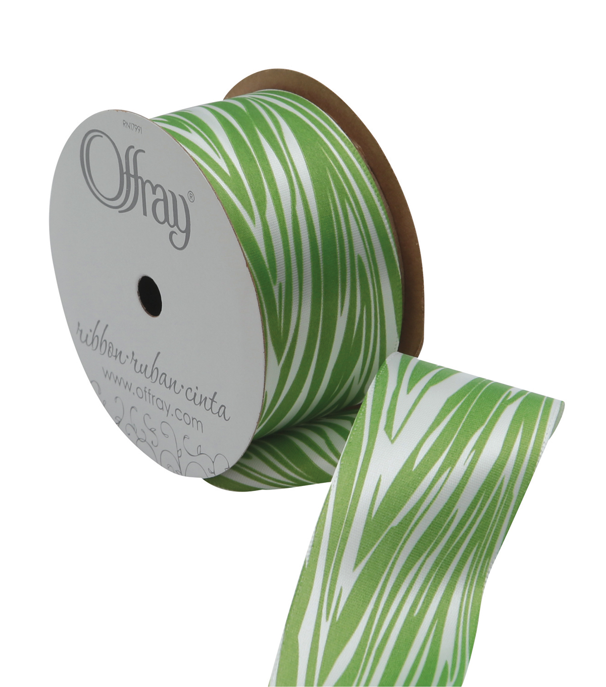 Offray 1.5\u0022 x 9\u0027 Geo Ribbon-Green