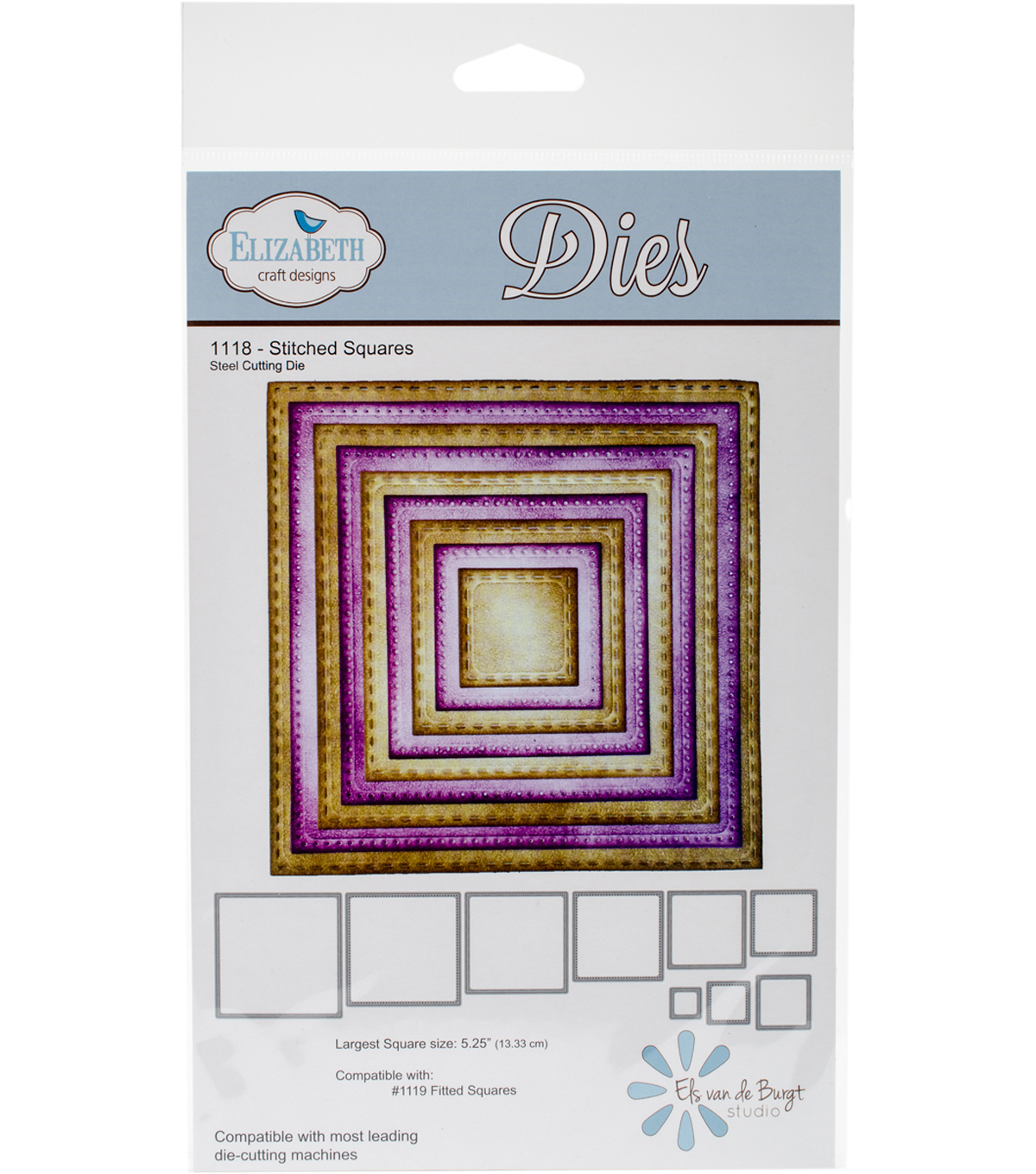 Elizabeth Craft Metal Die-Stitched Squares 5.25\u0022 Largest