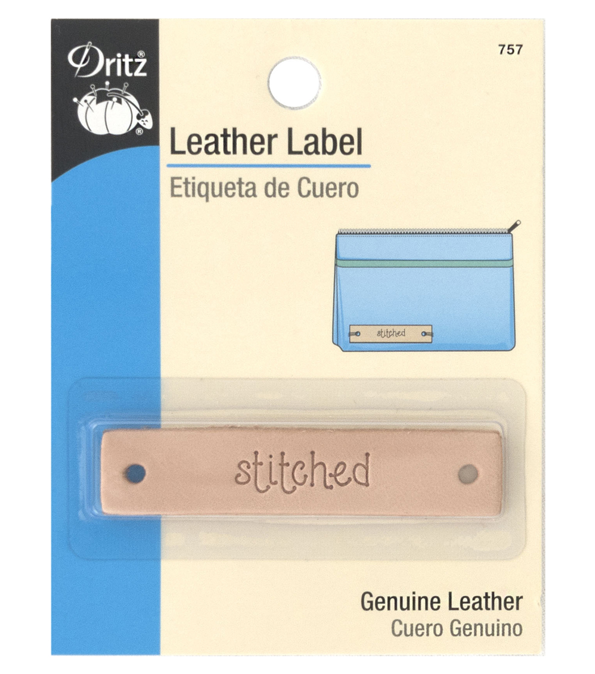 Dritz Leather Rectangle Label-stitched
