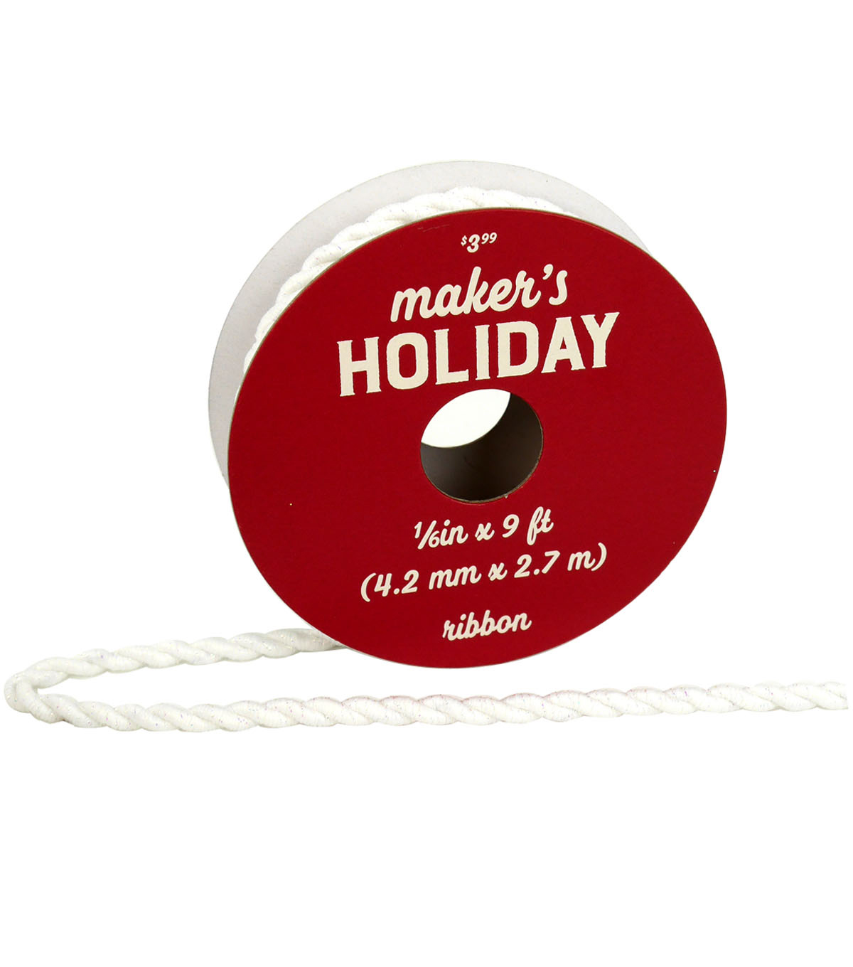 Maker\u0027s Holiday Arctic Frost Twist Cord Ribbon 1/6\u0027\u0027x9\u0027-Iridescent White