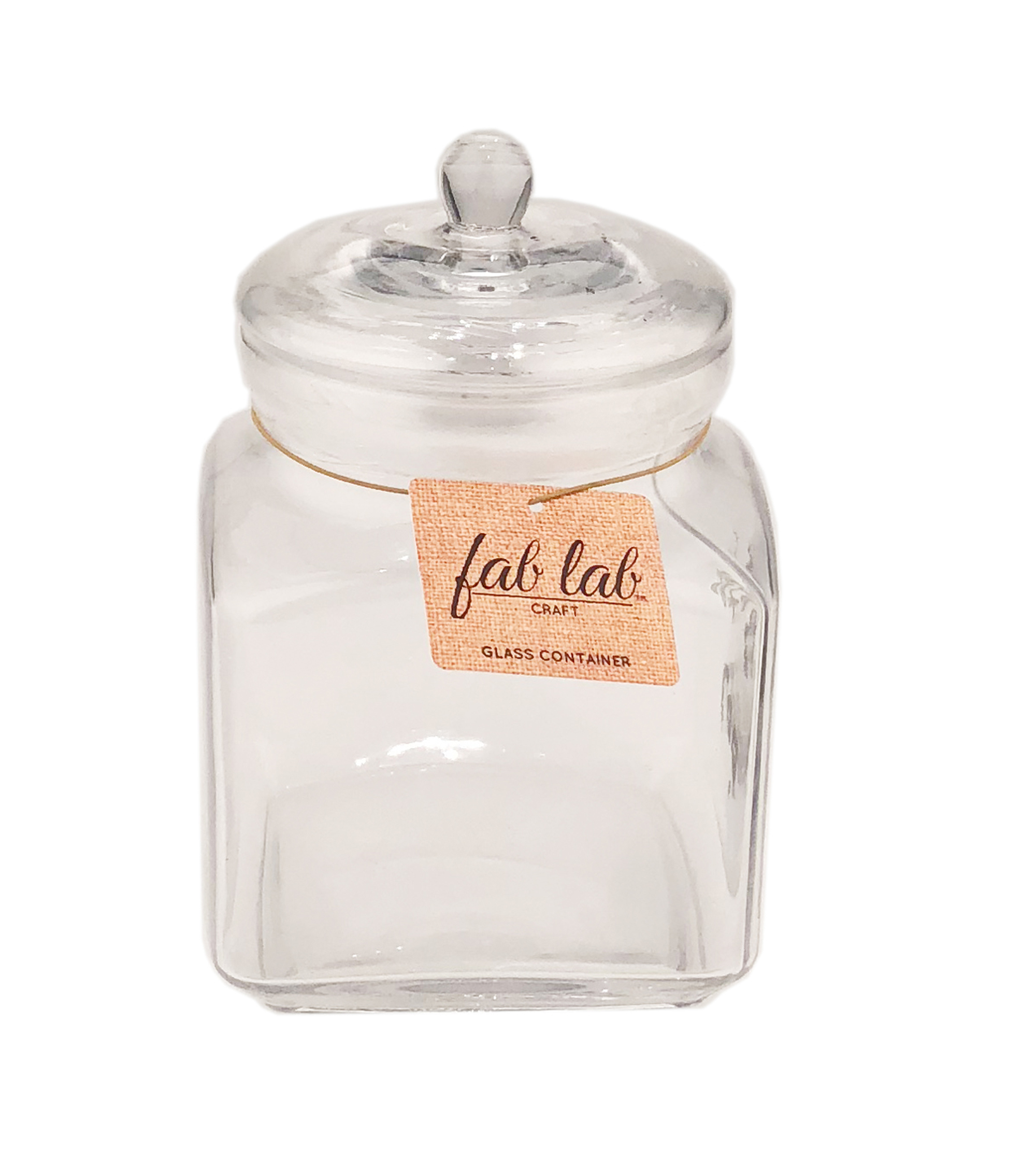 Fab Lab Craft 7-litre Glass Square Container with Lid-Clear