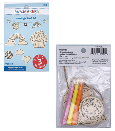 Little Makers Wood Garland Kit-Cupcakes & Donuts