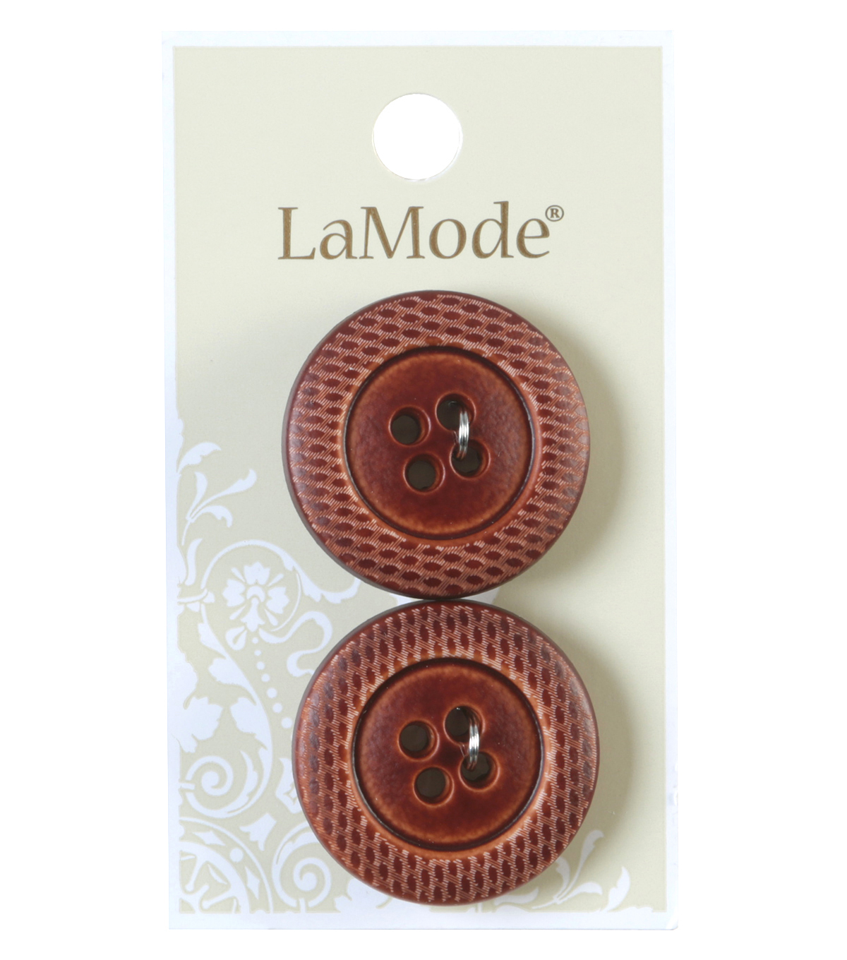 LaMode 4 Hole Brown Ribbed Button 28mm