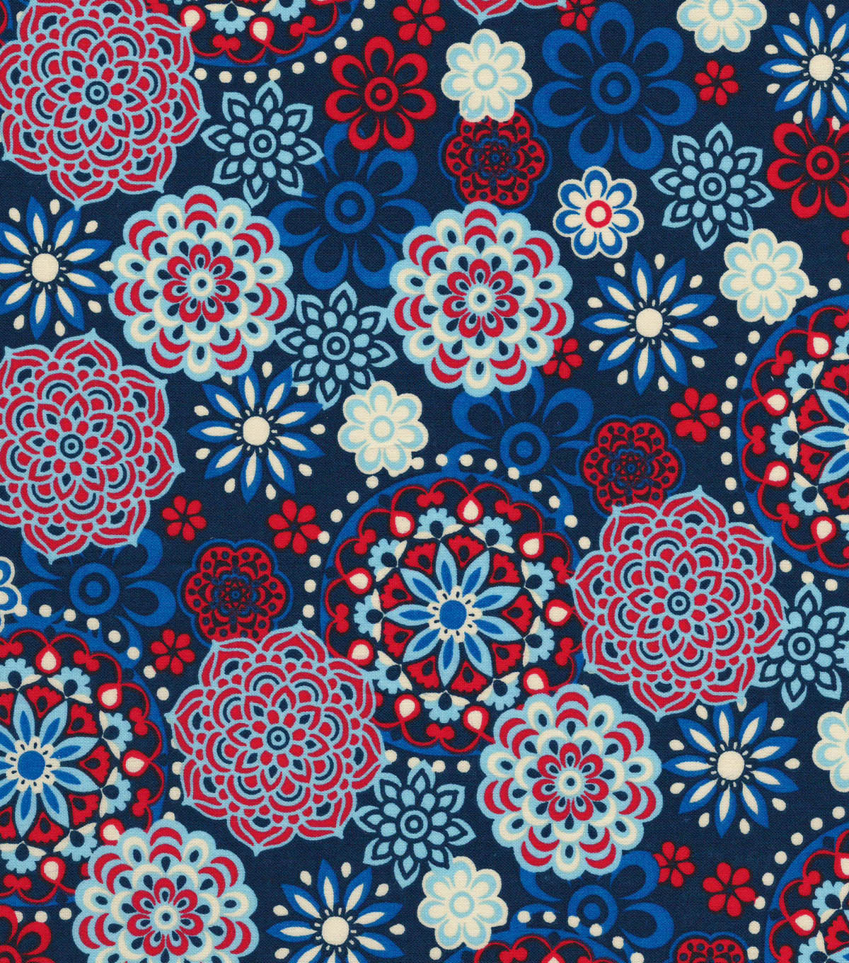 Quilter\u0027s Showcase Cotton Fabric -Red, White & Blue Medallions
