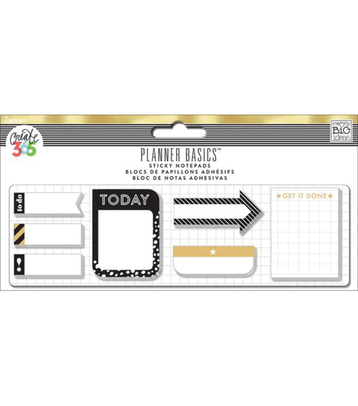 Me & My Big Ideas Planner Basics 7 pk Sticky Notepad-Black, White & Gold