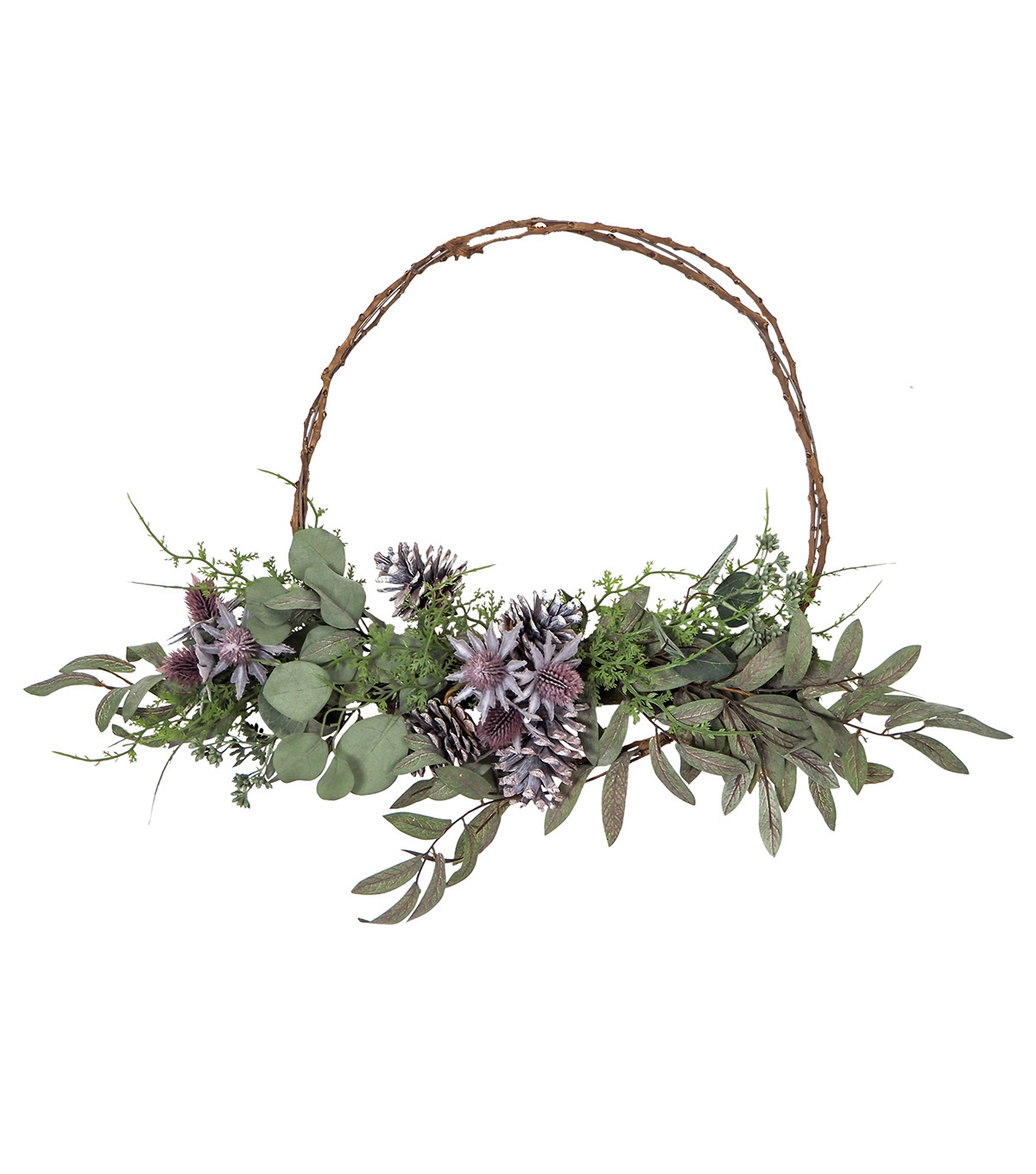 Blooming Autumn Pinecone Wreath-Green