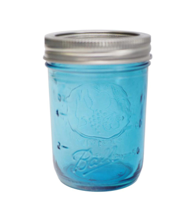 Ball 12 pk Wide Mouth Half Pint Canning Jars-Blue