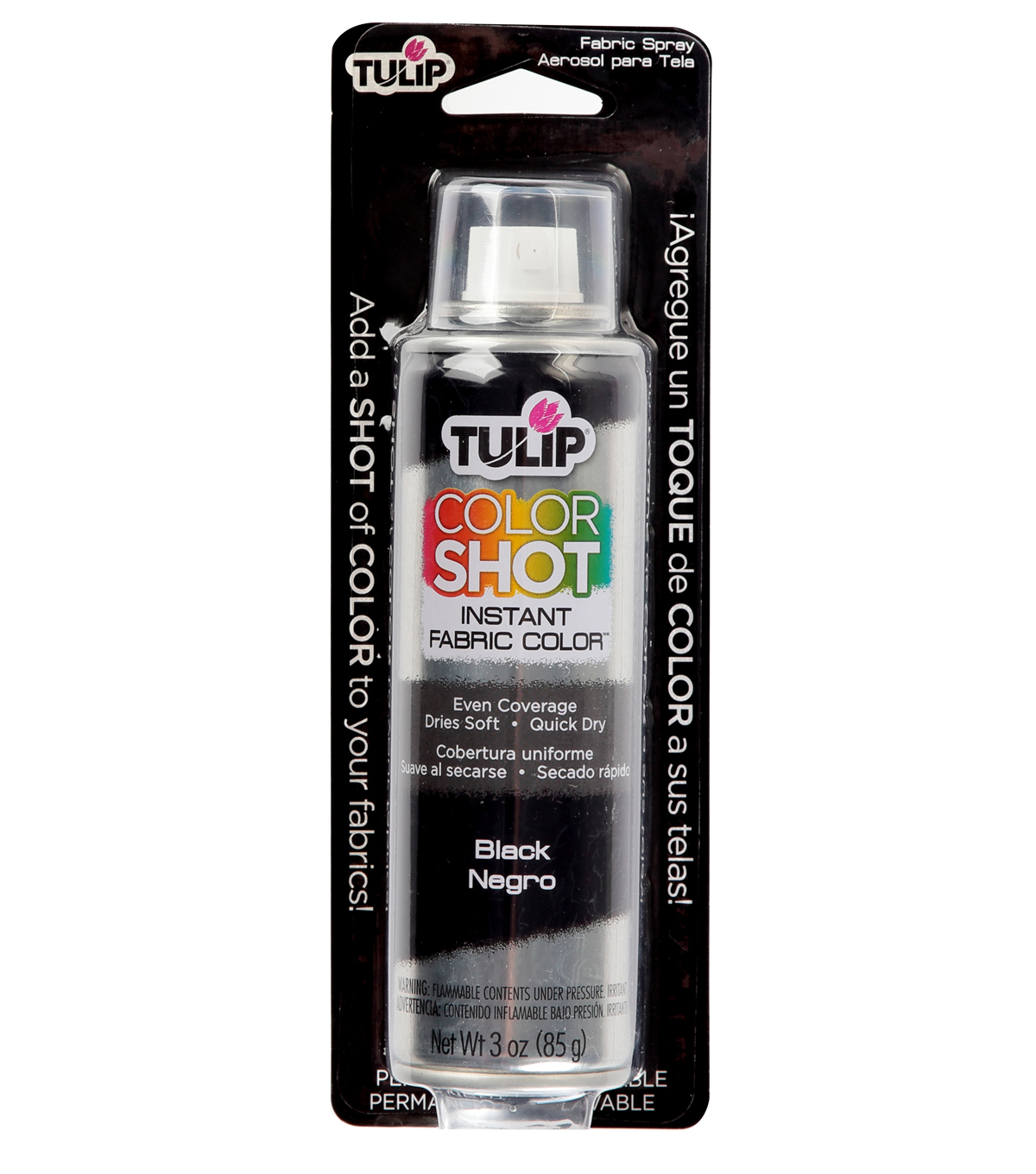 Tulip ColorShot Instant Fabric Color Spray 3oz, Black