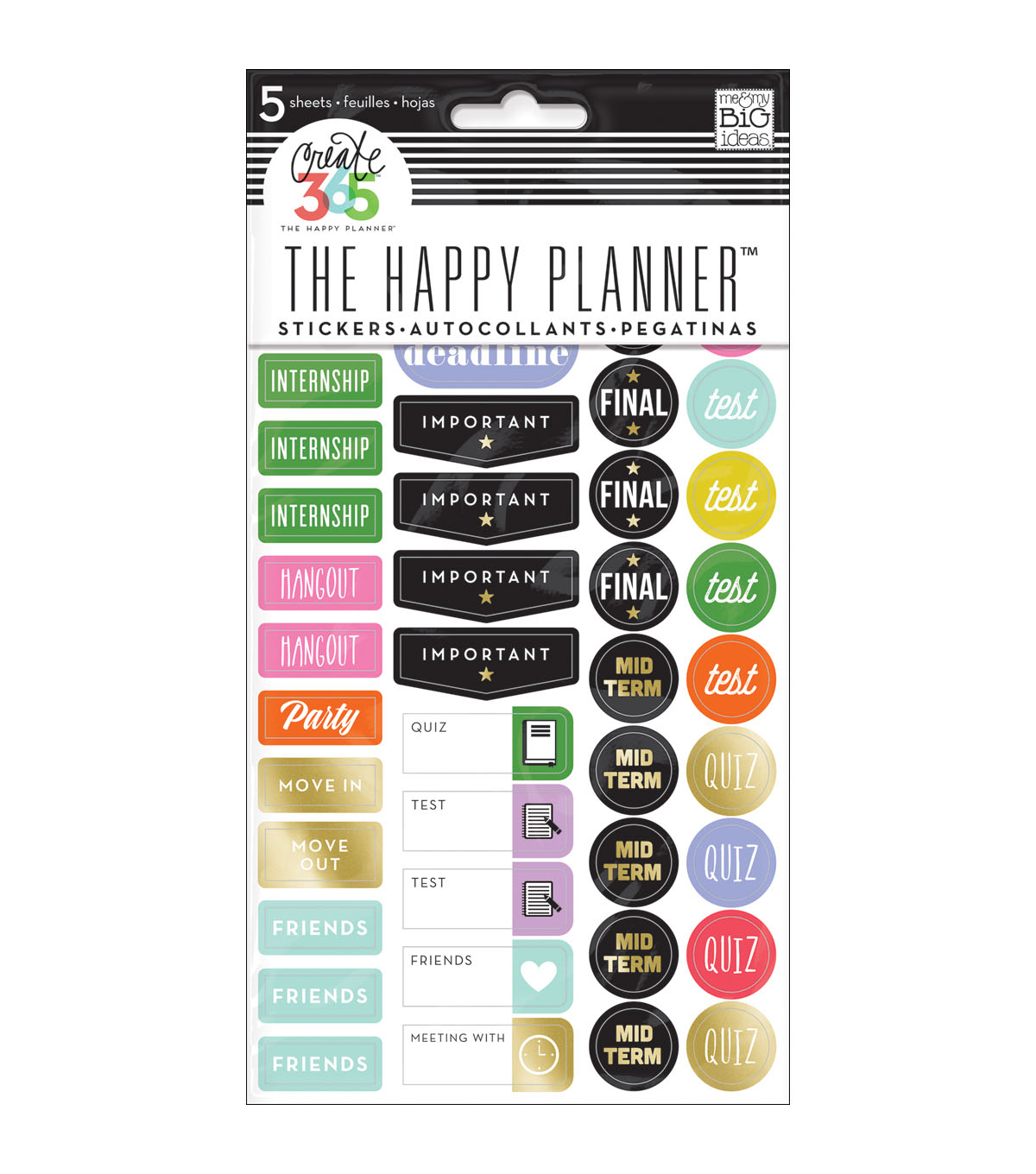 Me & My Big Ideas The Happy Planner 5 pk Sticker Sheets-School College