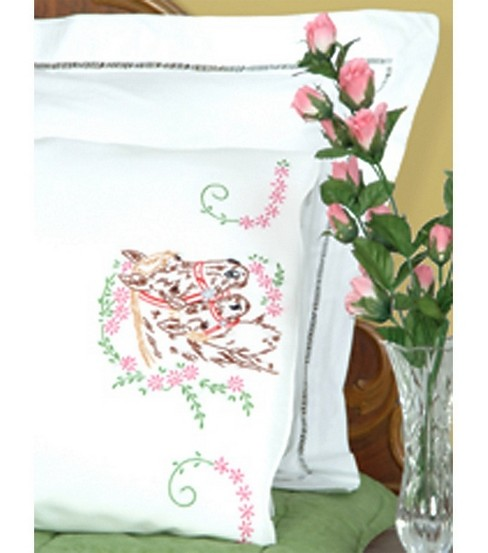 Jack Dempsey Stamped Pillow Cases With White Perle Edge Mare & Colt