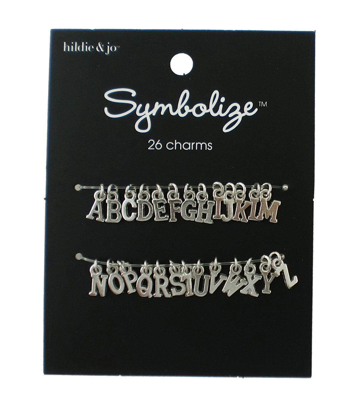 hildie & jo Symbolize 26 pk Small Alphabet Charms-Silver