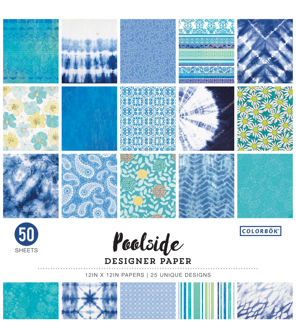 Colorbok Designer Single-Sided Paper 12\u0022X12\u0022-Poolside, 25 Designs/2 Each