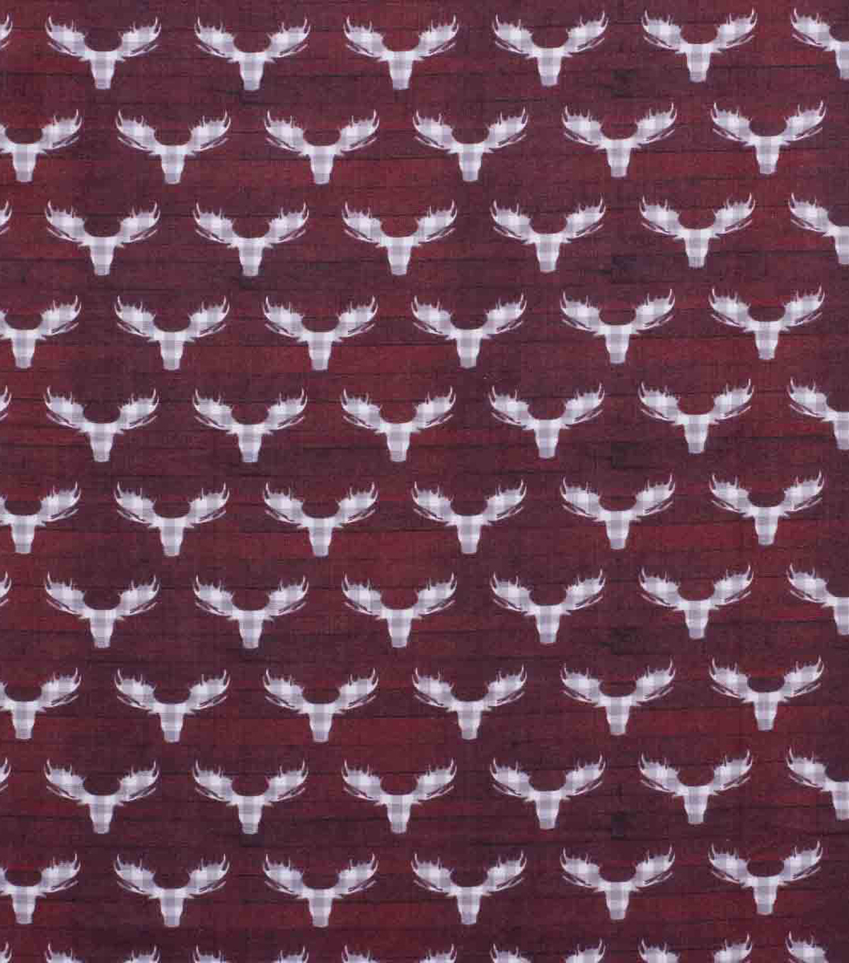 Super Snuggle Flannel Fabric-Buffalo Check Stag Head on Red