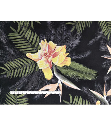 Tropic Time Linen Fabric 57\u0027\u0027-Black Tropical