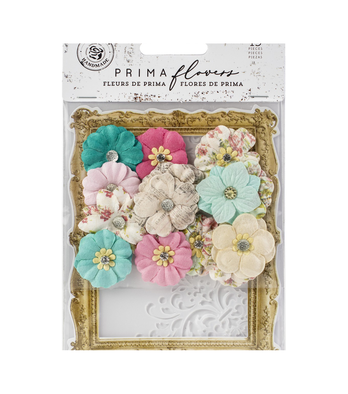 Prima Marketing Misty Rose Mulberry Paper Flowers 14/Pkg-Ashby W/Stencil
