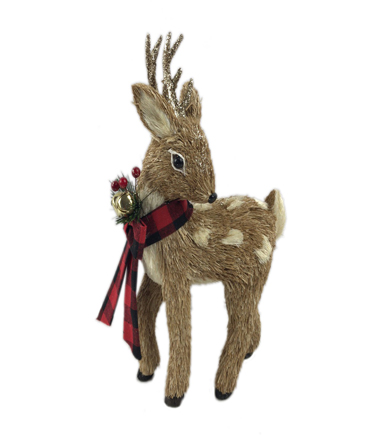 Blooming Holiday 7\u0027\u0027 Standing Deer with Red Buffalo Checks Scarf