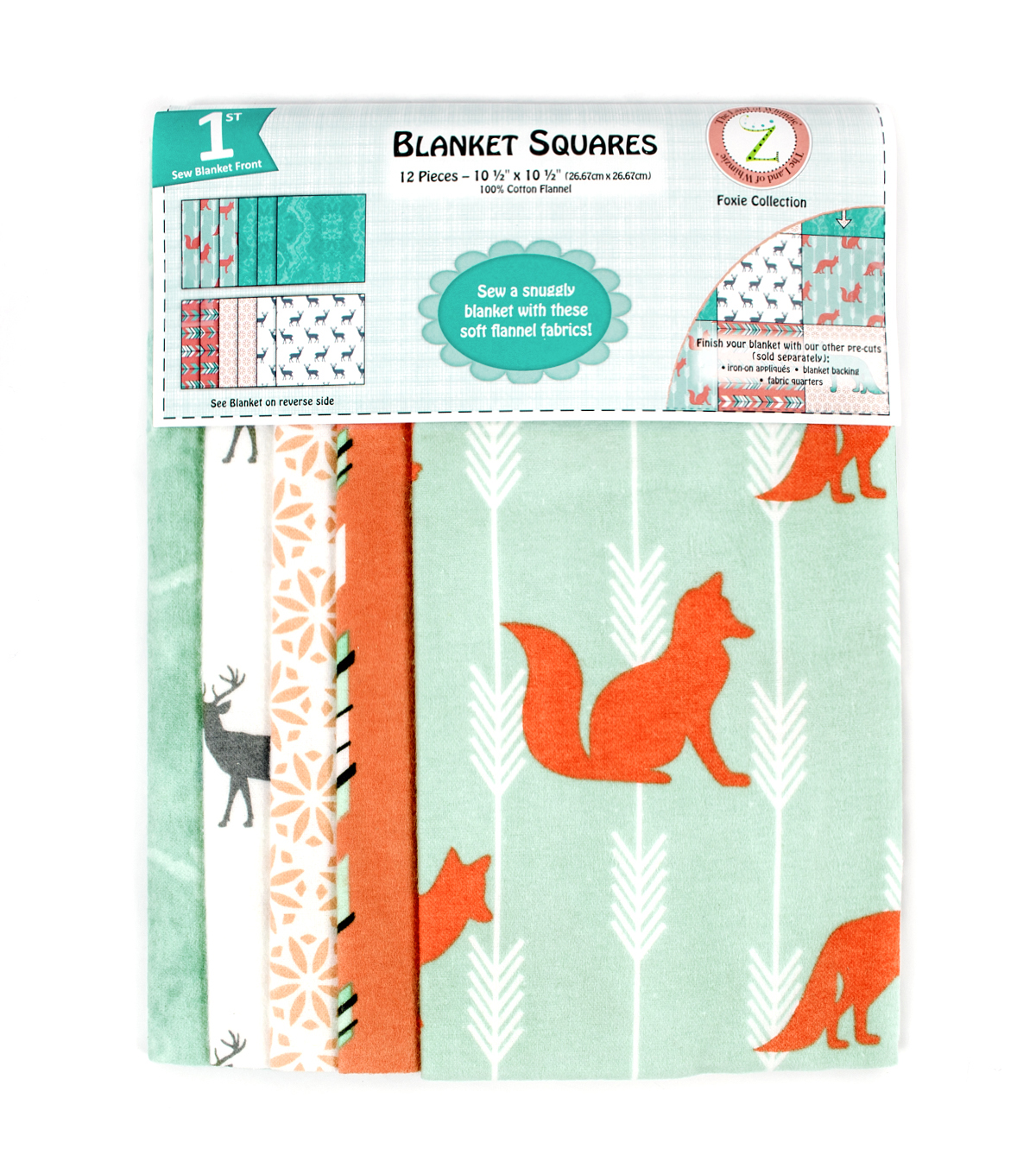 Land of Whimzie Foxie Flannel Blanket Squares - 12 pieces 10.5\u0022 x 10.5\u0022