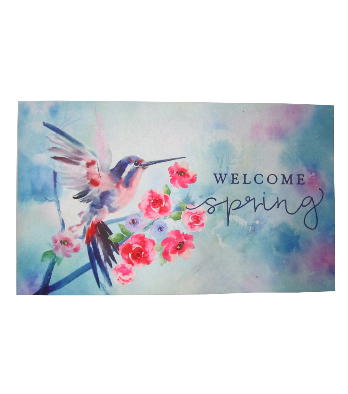 In the Garden Rubber Door Mat-Hummingbird & Welcome Spring