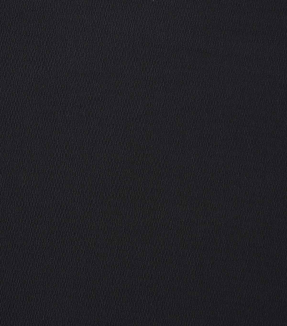 Silky Solids Textured Polyester Crepe Fabric-Solids, Black