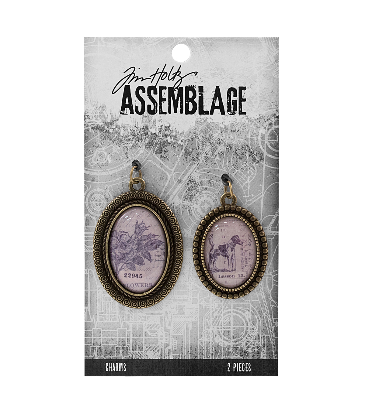 Tim Holtz Assemblage Pack of 2 Brass Bezels Charms
