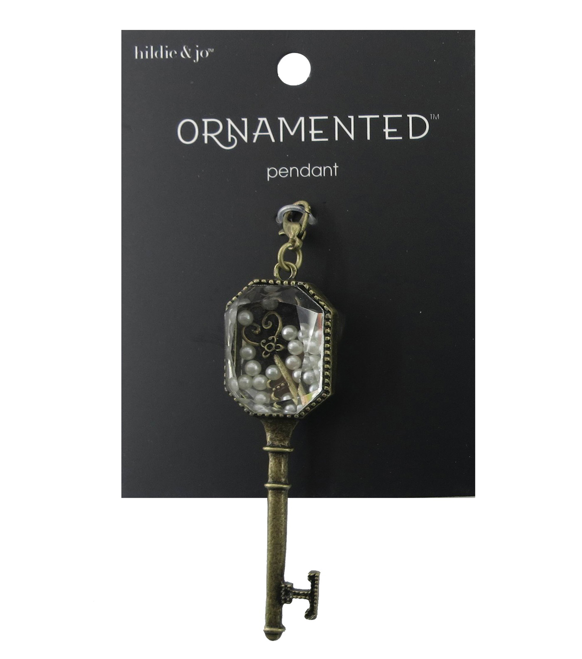 hildie & jo Ornamented Key Antique Gold Pendant-Crystal