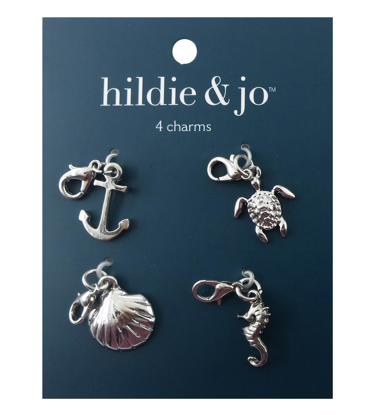 hildie & jo 4 Pack 0.63\u0027\u0027x0.63\u0027\u0027 Nautical Silver Charms