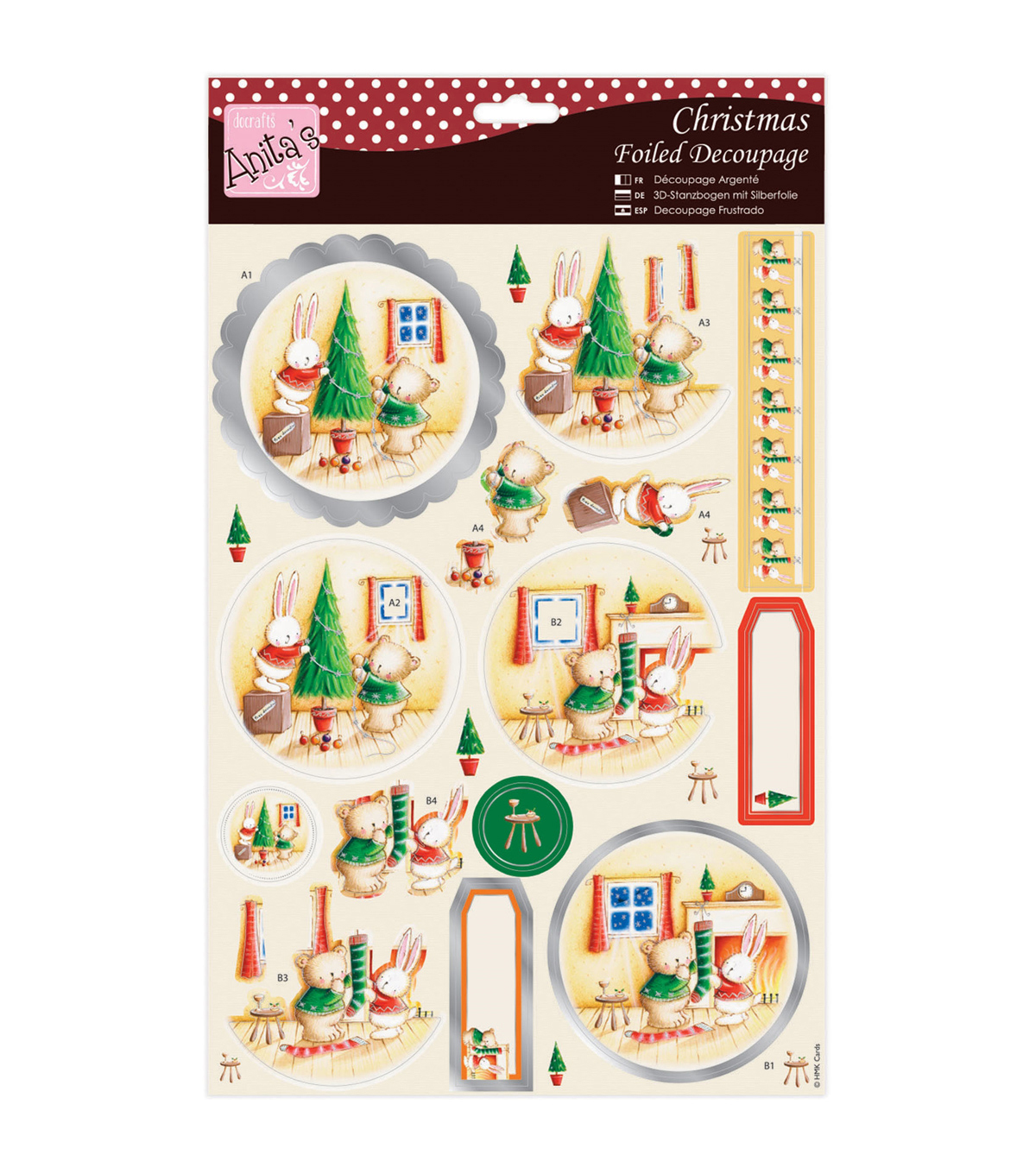 Anita\u0027s A4 Foiled Decoupage Sheet-Rabbit & Bear Christmas
