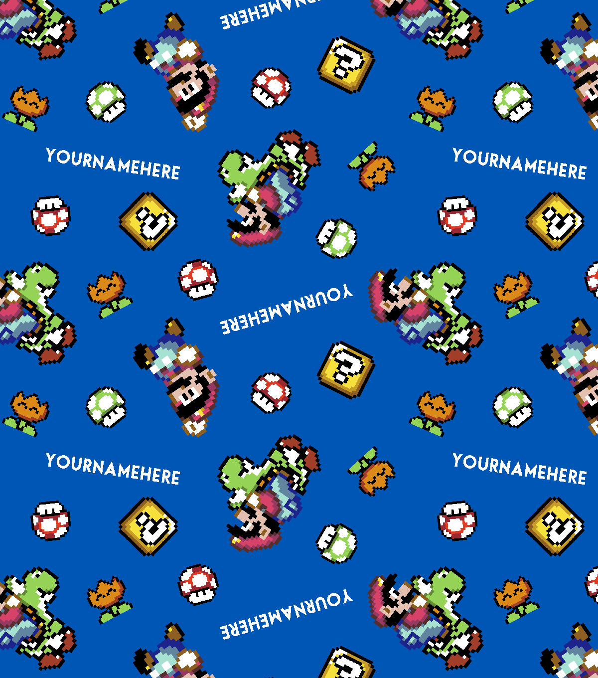 Nintendo Super Mario Print Fabric by Springs Creative-Pixelated