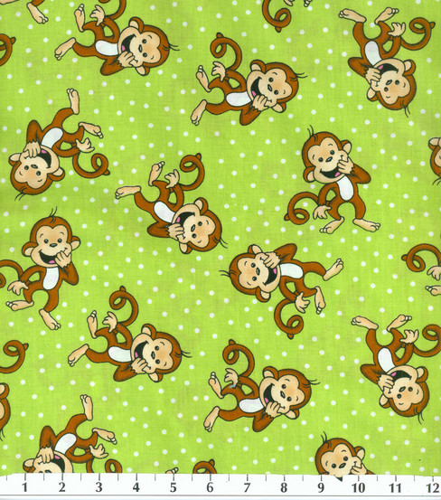 Novelty Cotton Fabric -Laughing Monkey on Green