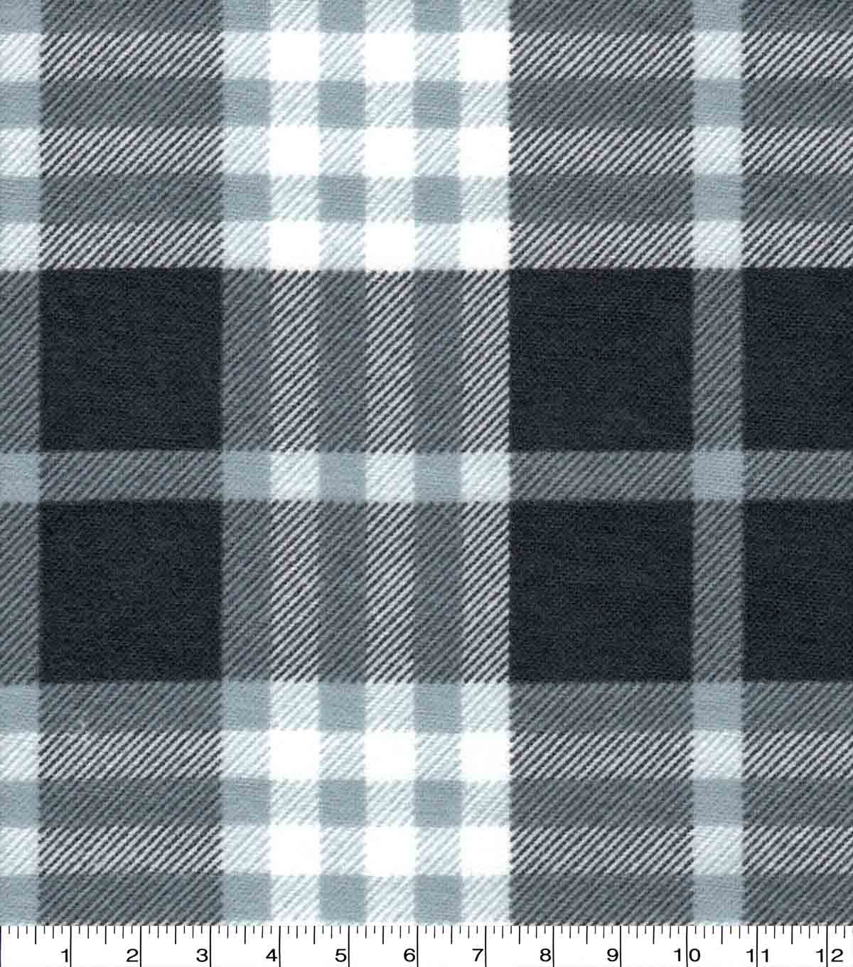 Snuggle Flannel Fabric-Dark Gray Traditional Plaid