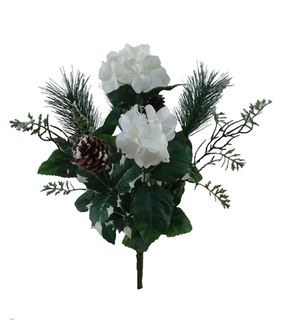 Blooming Holiday Christmas 21\u0027\u0027 Hydrangea, Pine & Pinecone Bush-White