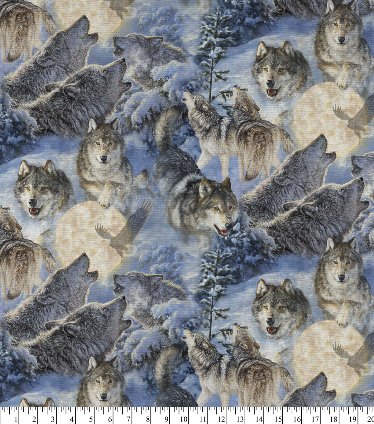 Novelty Cotton Fabric -Song of The North Wolves