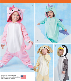 Simplicity Patterns 1032A Toddlers\u0027 Animal Costumes-Size 1/2-1-2-3-4